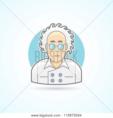 Crazy scientist look, nerd in glasses and overall icon. Avatar and person illustration. Flat colored
