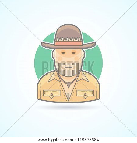 Australian hunter, bushman icon. Avatar and person illustration. Flat colored outlined style.