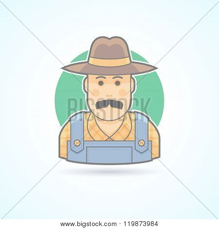 Farmer in an overalls and a hat,  village man icon. Avatar and person illustration. Flat colored out