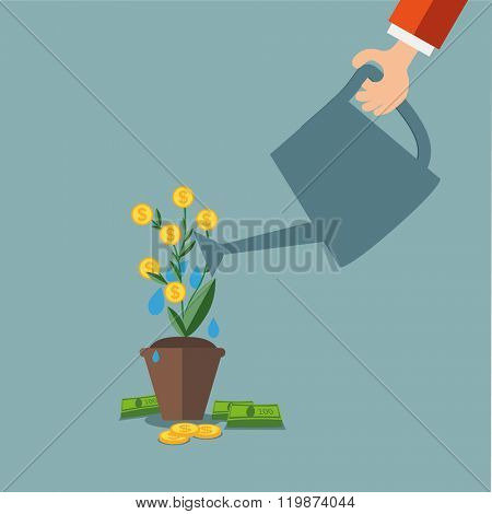 Hand of business person watering money tree. Money growing on tree. Money growth, making money, investment, profit, financial management concept