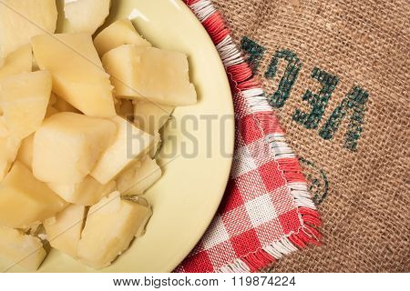 Tasty boiled potatoes on a plate without spices