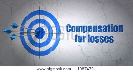 Banking concept: target and Compensation For losses on wall background