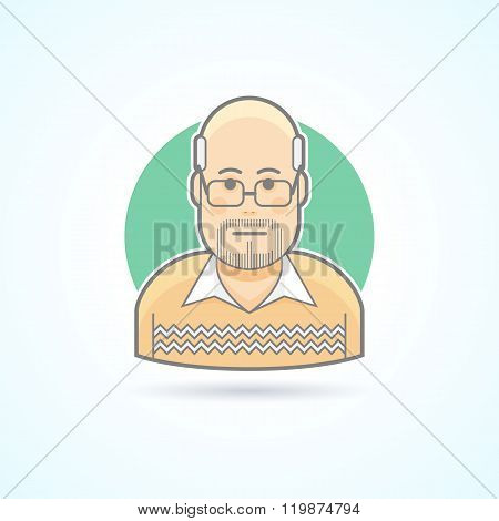 Bald man with glasses in a sweater icon. Avatar and person illustration. Flat colored outlined style