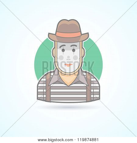 Mime, pantomime performer, entertainer icon. Avatar and person illustration. Flat colored outlined s