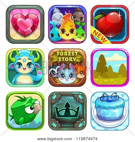 Set of funny cool app store game icons