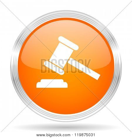 auction orange silver metallic chrome web circle glossy icon