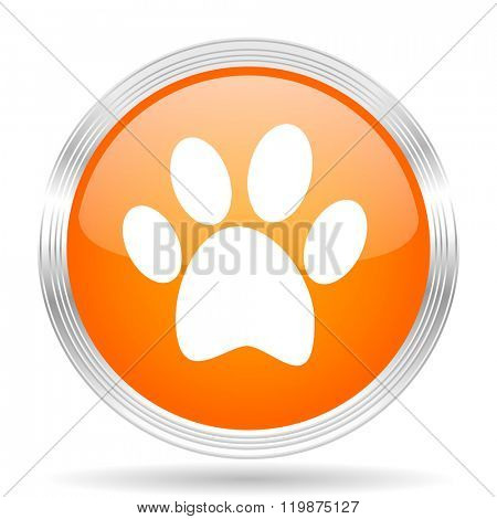 foot orange silver metallic chrome web circle glossy icon