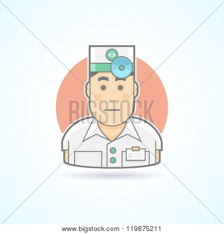 Ophthalmologist, otorhinolaryngologist, physician with head mirror  icon. Avatar and person illustra