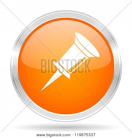 pin orange silver metallic chrome web circle glossy icon