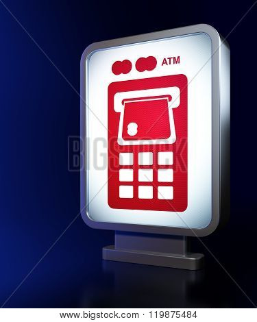 Money concept: ATM Machine on billboard background