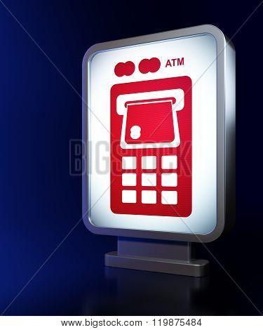 Money concept: ATM Machine on billboard background