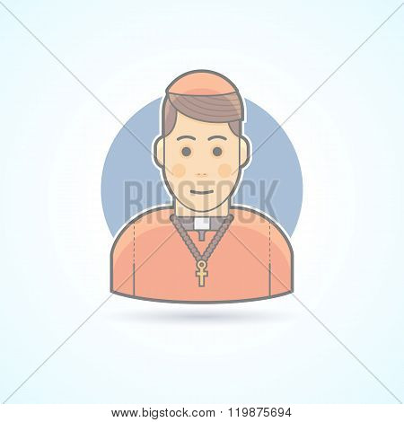Catholic priest, clergyman in a cassock icon. Avatar and person illustration. Flat colored outlined