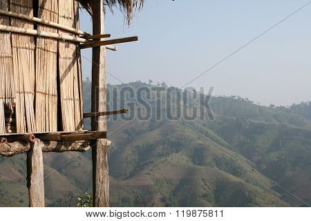 Wooden hut with a mountain view