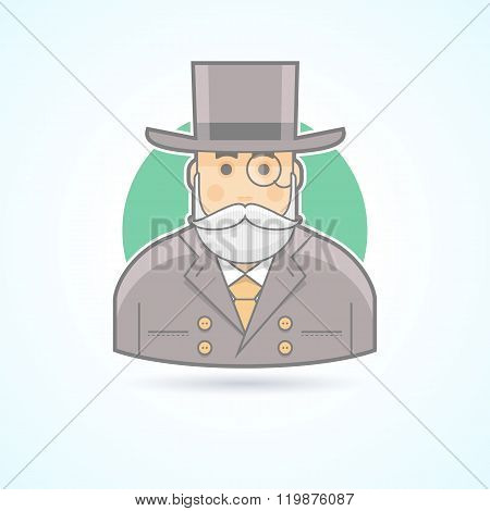 Richman, wealthy old man, banker, money agent icon. Avatar and person illustration. Flat colored out