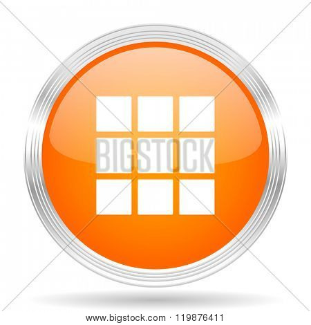 thumbnails grid orange silver metallic chrome web circle glossy icon