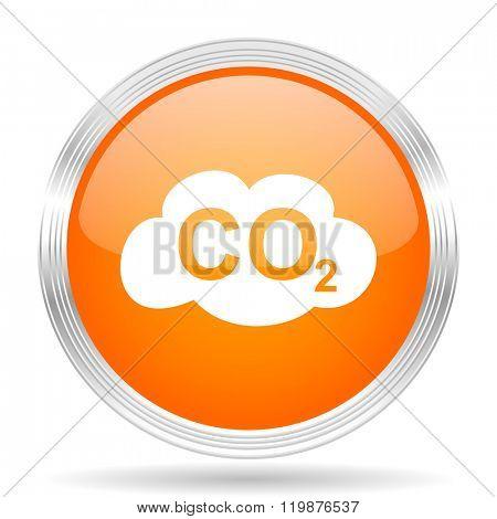 carbon dioxide orange silver metallic chrome web circle glossy icon