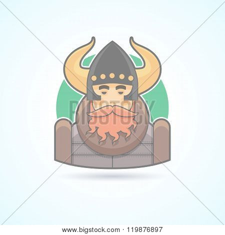 Viking, sea king, scandinavian man icon. Avatar and person illustration. Flat colored outlined style