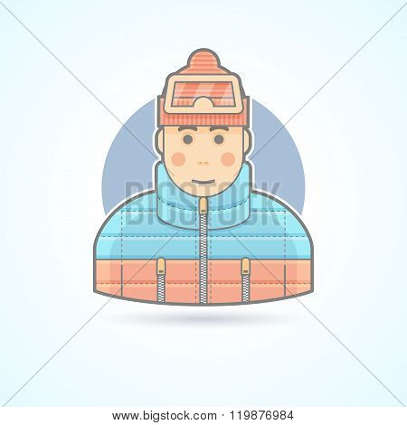 Warm dressed man, snowboarder, skier icon. Avatar and person illustration. Flat colored outlined sty