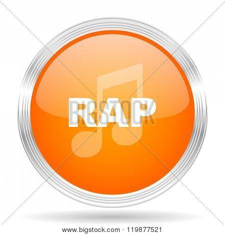 rap music orange silver metallic chrome web circle glossy icon