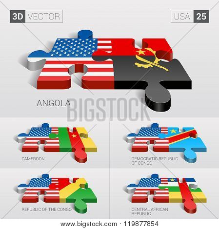 USA Flag. 3d vector puzzle. Set 26.