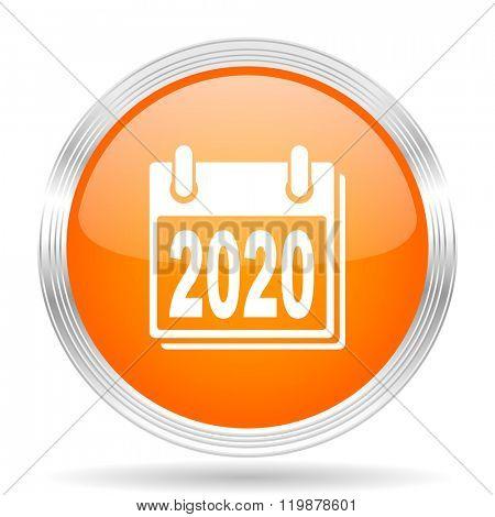 new year 2020 orange silver metallic chrome web circle glossy icon