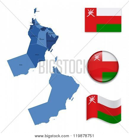 High Detailed Map of Oman With Flag Collection