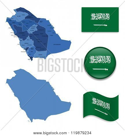 High Detailed Map of Saudi Arabia With Flag Collection