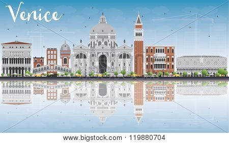 Venice Skyline Silhouette with Gray and Brown Buildings. Vector Illustration. Business Travel and Tourism Concept with Historic Buildings and Reflections. Image for Presentation Banner and Placard.