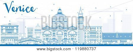 Outline Venice Skyline Silhouette with Blue Buildings. Vector Illustration. Business Travel and Tourism Concept with Historic Buildings. Image for Presentation Banner and Placard.