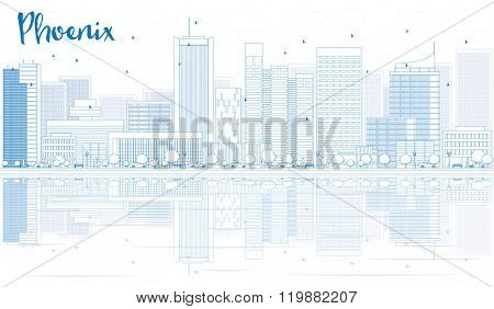 Outline Phoenix skyline with blue buildings and reflections. Vector illustration. Business travel and tourism concept with place for text. Image for presentation, banner, placard and web site.