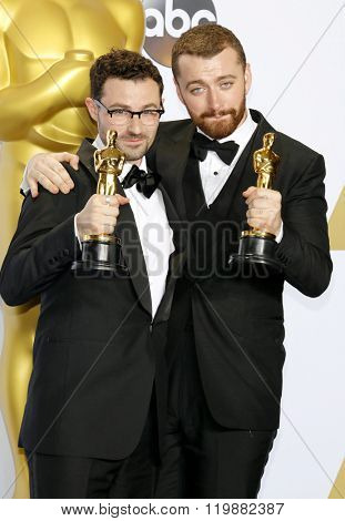 Jimmy Napes and Sam Smith at the 88th Annual Academy Awards - Press Room held at the Loews Hollywood Hotel in Hollywood, USA on February 28, 2016.
