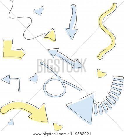 Vector Hand Drawn Arrows Set.