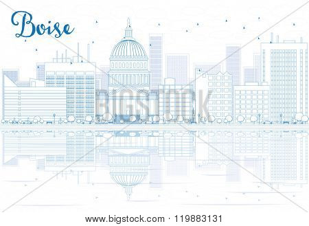Outline Boise skyline with blue buildings and reflections. Vector illustration. Business travel and tourism concept with place for text. Image for presentation, banner, placard and web site.