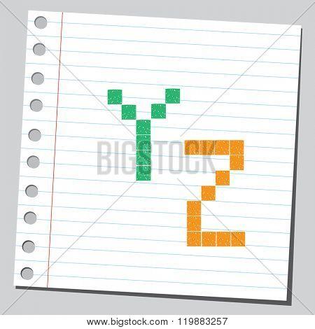 Pixel letters Y,Z