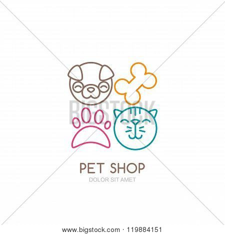 Vector Line Art Illustration Of Dog Head And Cat Muzzle.