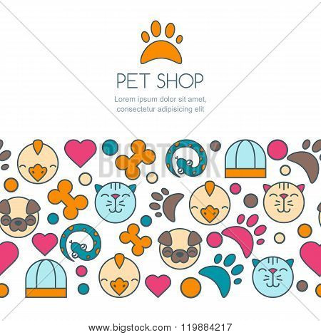 Trendy Concept For Pet Shop, Pets Care And Grooming, Veterinary.