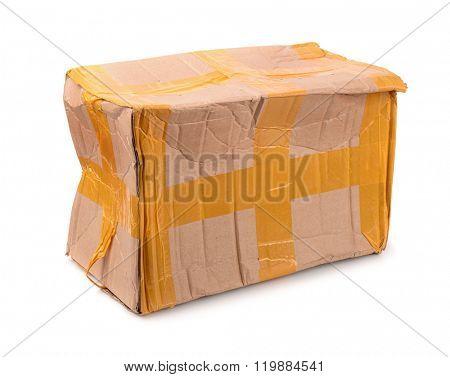 Damaged cardboard box isolated on white