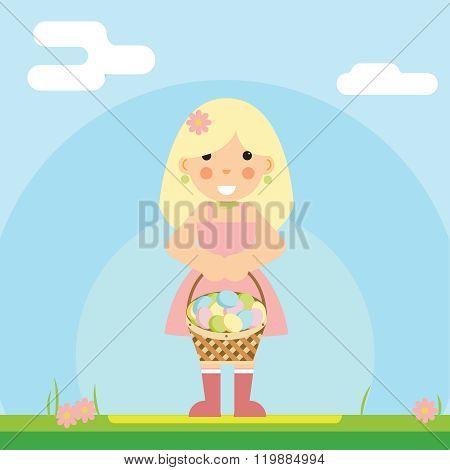 happy girl with basket of Easter eggs sky background is an example flat design vector illustration