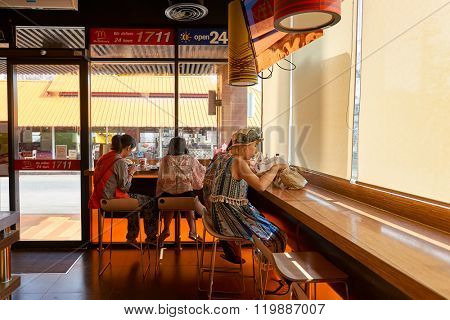 PATTAYA, THAILAND - FEBRUARY 19, 2016: inside of McDonald's restaurant. McDonald's primarily sells hamburgers, cheeseburgers, chicken, french fries, breakfast items, soft drinks, milkshakes, desserts