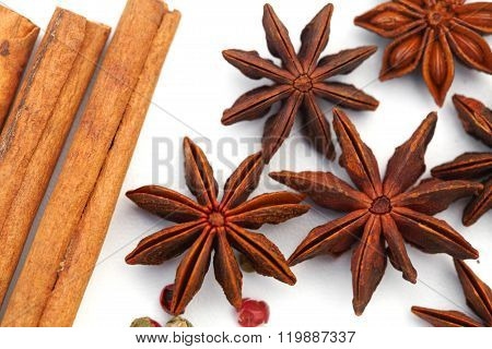 Assortment Spices On White Background