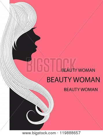 vector image of a woman with long hair can be used as a banner and business cards