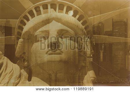 Aged Sepia Digital Grunge Distressed Effect New York