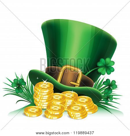 St. Patrick's Day Green Leprechaun Hat With Clover And Gold Coins, St.patrick's Day Symbol.
