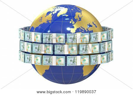 Global Remittance Concept, Dollars Around The World