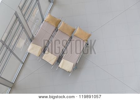 Beige Stretcher Gurney For Patient In Hospital