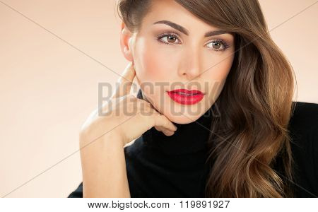 Woman With Red Lipstick