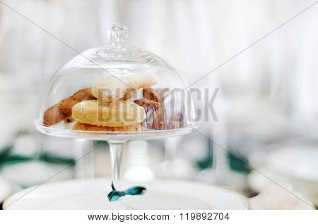 Glass Bell Jar With Cookies