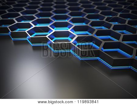 Abstract Geometric Shape With Shiny Metallic Background