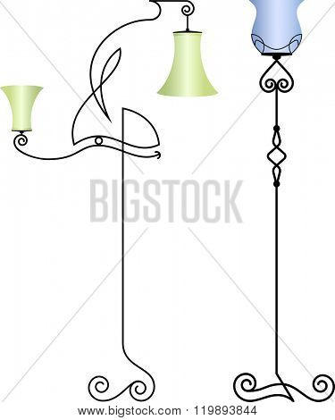 Wrought Iron Table Floor Lamp Vector Illustration