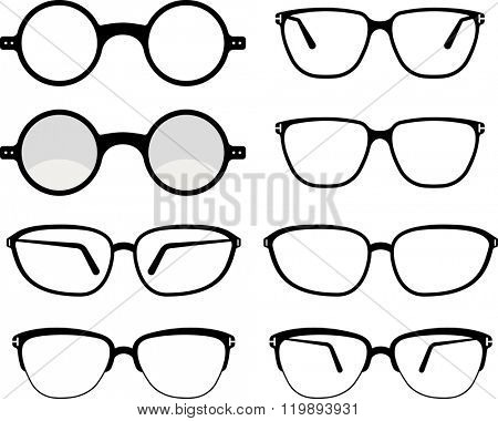 Spectacles Icon Set Symbol Vector Illustration